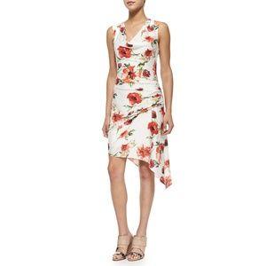 NEW Haute Hippie Silk Floral Print Gathered Dress